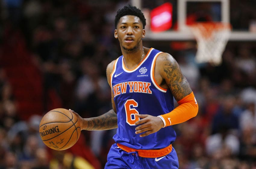 MIAMI, FLORIDA - DECEMBER 20: Elfrid Payton #6 of the New York Knicks dribbles with the ball against the Miami Heat during the first half at American Airlines Arena on December 20, 2019 in Miami, Florida. NOTE TO USER: User expressly acknowledges and agrees that, by downloading and/or using this photograph, user is consenting to the terms and conditions of the Getty Images License Agreement. (Photo by Michael Reaves/Getty Images)
