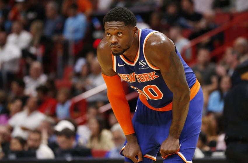 MIAMI, FLORIDA - DECEMBER 20: Julius Randle #30 of the New York Knicks looks on against the Miami Heat during the first half at American Airlines Arena on December 20, 2019 in Miami, Florida. NOTE TO USER: User expressly acknowledges and agrees that, by downloading and/or using this photograph, user is consenting to the terms and conditions of the Getty Images License Agreement. (Photo by Michael Reaves/Getty Images)