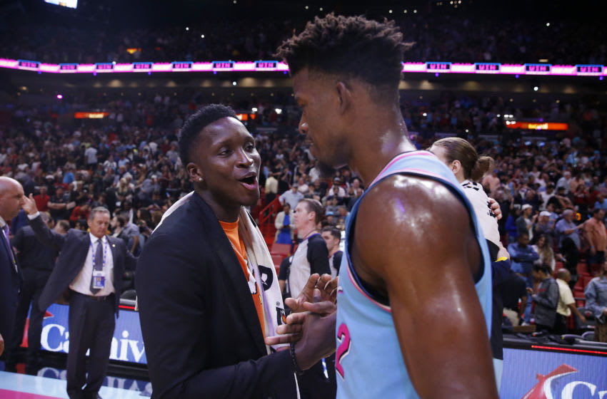 Victor Oladipo and Jimmy Butler (Photo by Michael Reaves/Getty Images)