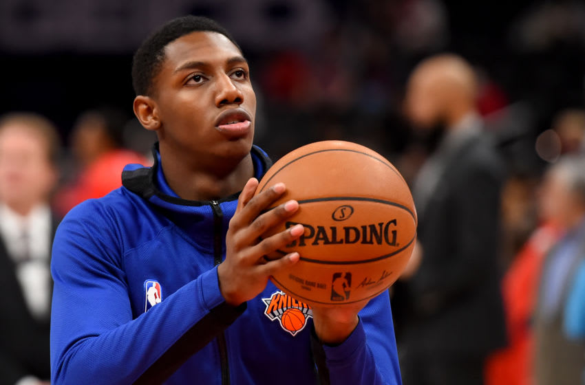 WASHINGTON, DC - DECEMBER 28: RJ Barrett #9 of the New York Knicks warms up (Photo by Will Newton/Getty Images)