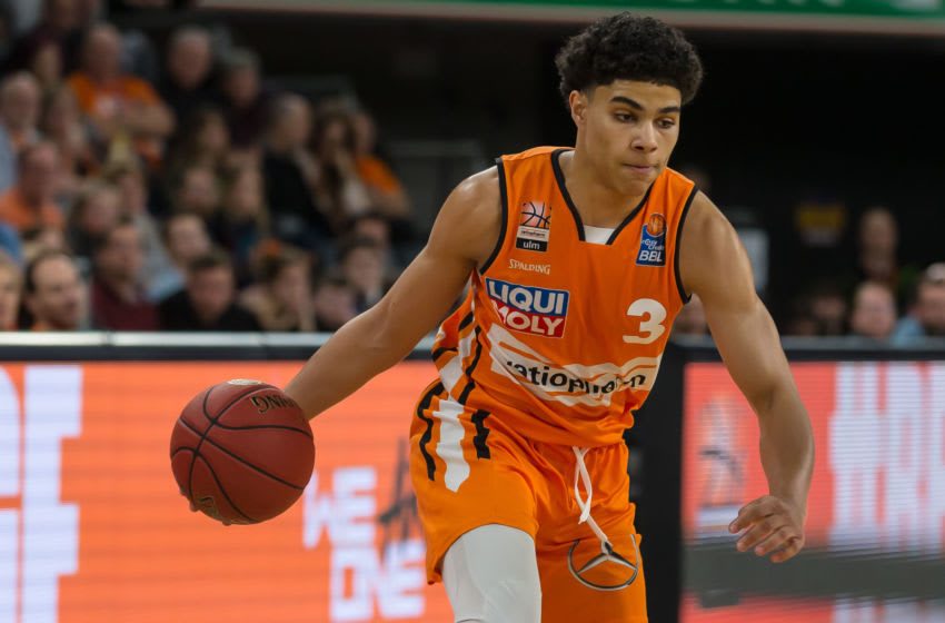 ULM, GERMANY - FEBRUARY 14: (BILD ZEITUNG OUT) Killian Hayes of Ulm controls the Ball during the EasyCredit Basketball Bundesliga (BBL) match between Ratiopharm Ulm and Basketball Loewen Braunschweig at ratiopharm Arena on February 14, 2020 in Ulm, Germany. (Photo by Harry Langer/DeFodi Images via Getty Images)