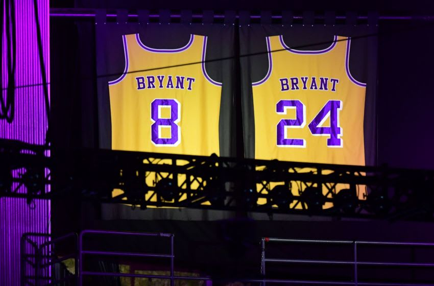 Kobe Bryant's Lakers jerseys are displayed during the