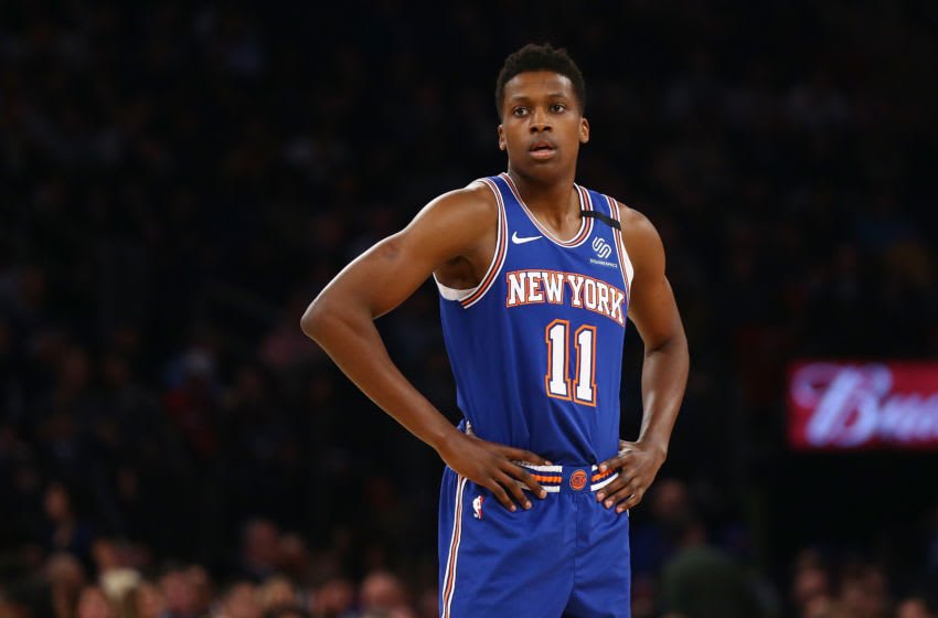 NEW YORK, NEW YORK - MARCH 02: Frank Ntilikina #11 of the New York Knicks in action against the Houston Rockets at Madison Square Garden on March 02, 2020 in New York City. NOTE TO USER: User expressly acknowledges and agrees that, by downloading and or using this photograph, User is consenting to the terms and conditions of the Getty Images License Agreement. New York Knicks defeated the Houston Rockets 125-123. (Photo by Mike Stobe/Getty Images)
