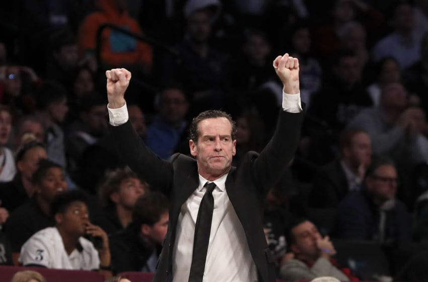 NEW YORK, NEW YORK - JANUARY 20: (NEW YORK DAILIES OUT) Head coach Kenny Atkinson of the Brooklyn Nets in action against the Philadelphia 76ers at Barclays Center on January 20, 2020 in New York City. The 76ers defeated the Nets 117-111. NOTE TO USER: User expressly acknowledges and agrees that, by downloading and or using this photograph, User is consenting to the terms and conditions of the Getty Images License Agreement. (Photo by Jim McIsaac/Getty Images)