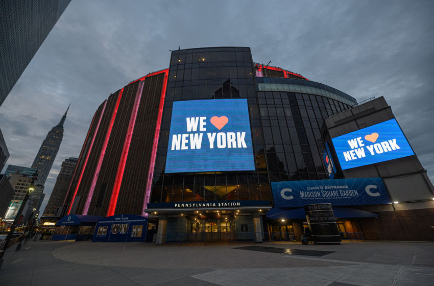 NEW YORK, NEW YORK - MAY 14: A view outside the Madison Square Garden during the coronavirus pandemic on May 14, 2020 in New York City. COVID-19 has spread to most countries around the world, claiming over 299,000 lives with over 4.4 million infections reported. (Photo by Noam Galai/Getty Images)