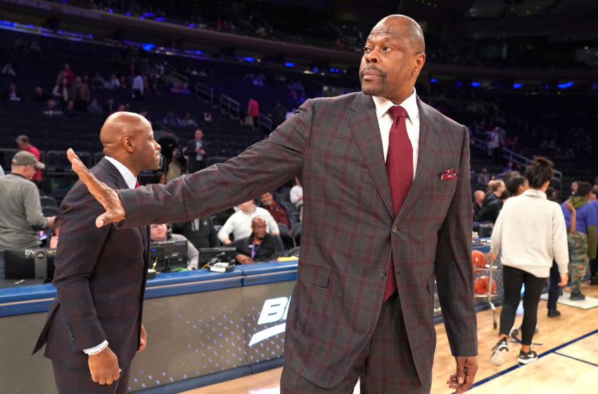 NEW YORK , NY - MARCH 11: Head coach Patrick Ewing of the Georgetown Hoyas on the floor before the Big East Conference Men's Basketball Tournament First Round game against the St. John's Red Storm at Madison Square Garden on March 11, 2020 in New York City. (Photo by Mitchell Layton/Getty Images)