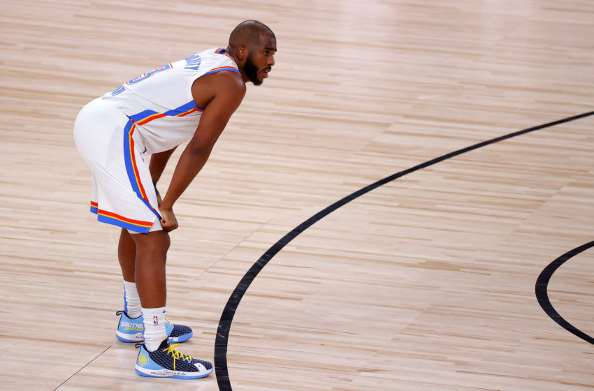 LAKE BUENA VISTA, FLORIDA - AUGUST 20: Chris Paul #3 of the Oklahoma City Thunder reacts to a foul during the fourth quarter against the Houston Rockets in Game Two of the Western Conference First Round during the 2020 NBA Playoffs at AdventHealth Arena at ESPN Wide World Of Sports Complex on August 20, 2020 in Lake Buena Vista, Florida. NOTE TO USER: User expressly acknowledges and agrees that, by downloading and or using this photograph, User is consenting to the terms and conditions of the Getty Images License Agreement. (Photo by Kevin C. Cox/Getty Images)