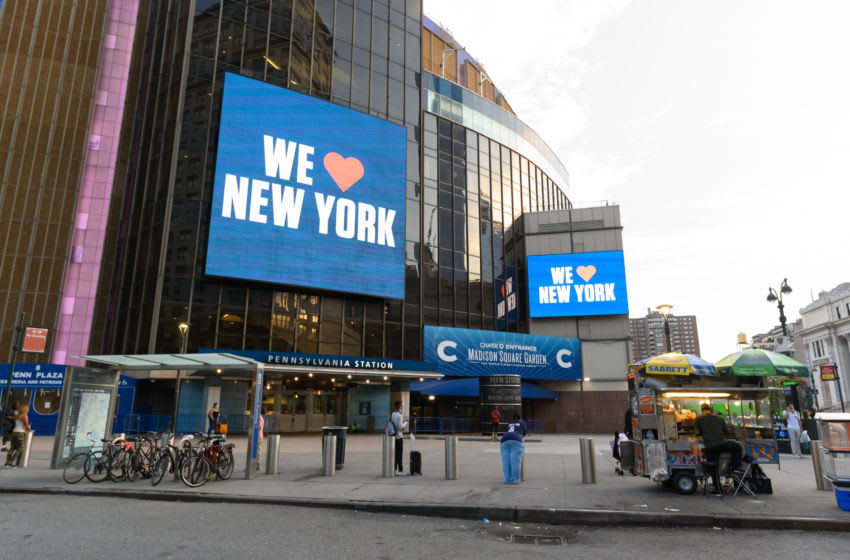 NEW YORK, NEW YORK - AUGUST 29: A 'we love New York' is displayed on a billboard outside the Madison Square Garden as the city continues Phase 4 of re-opening following restrictions imposed to slow the spread of coronavirus on August 29, 2020 in New York City. The fourth phase allows outdoor arts and entertainment, sporting events without fans and media production. (Photo by Noam Galai/Getty Images)