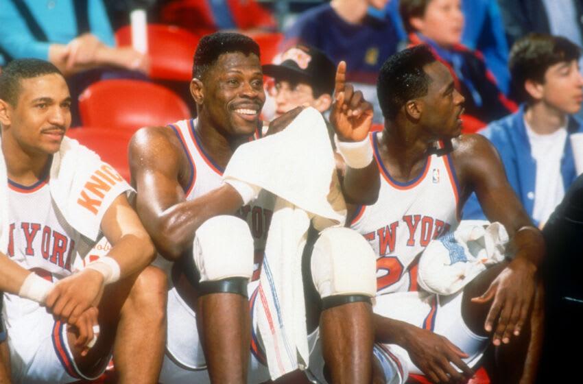 NY Knicks, Patrick Ewing, Karl Malone (Photo by Mitchell Layton/Getty Images)