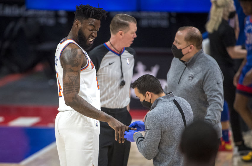 Norvel Pelle, John Henson, NY Knicks (Photo by Nic Antaya/Getty Images)