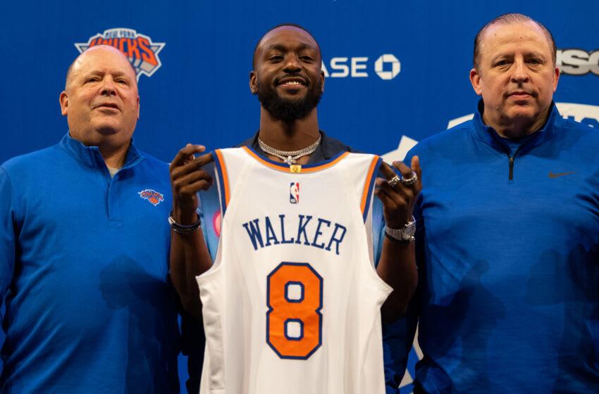 NY Knicks, Julius Randle, Kemba Walker, Derrick Rose (Photo by Dustin Satloff/Getty Images)