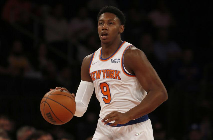 NY Knicks, RJ Barrett, Julius Randle, Mitchell Robinson (Photo by Jim McIsaac/Getty Images)