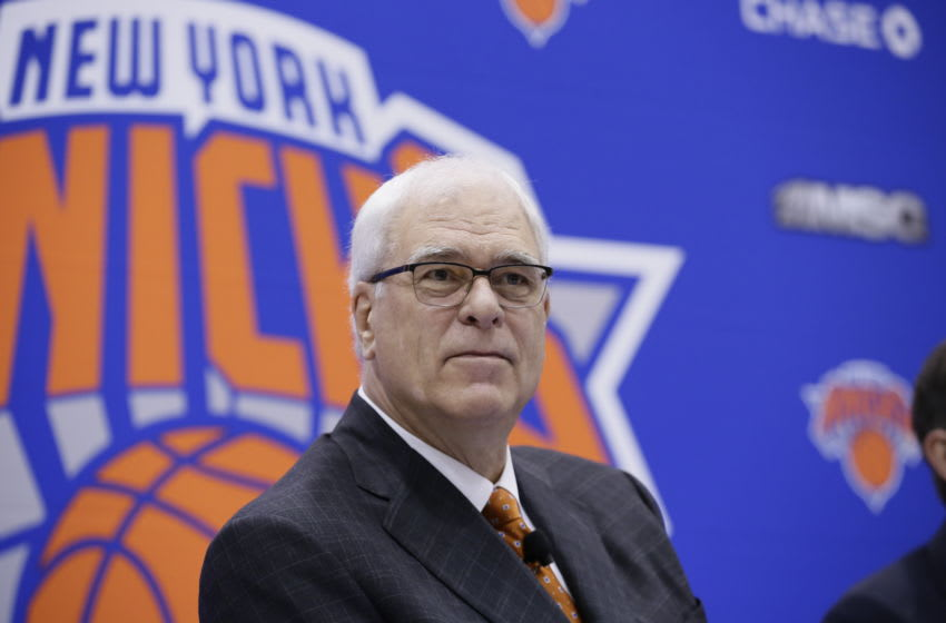 GREENBURG, NY June 3: The New York Knicks Phil Jackson introduces Jeff Hornacek as their new head coach during a press conference at the Knicks Practice Center on June 3, 2016 in Greenburg, New York. NOTE TO USER: User expressly acknowledges and agrees that, by downloading and/or using this photograph, user is consenting to the terms and conditions of the Getty Images License Agreement. Mandatory Copyright Notice: Copyright 2016 NBAE (Photo by Steven Freeman/NBAE via Getty Images)