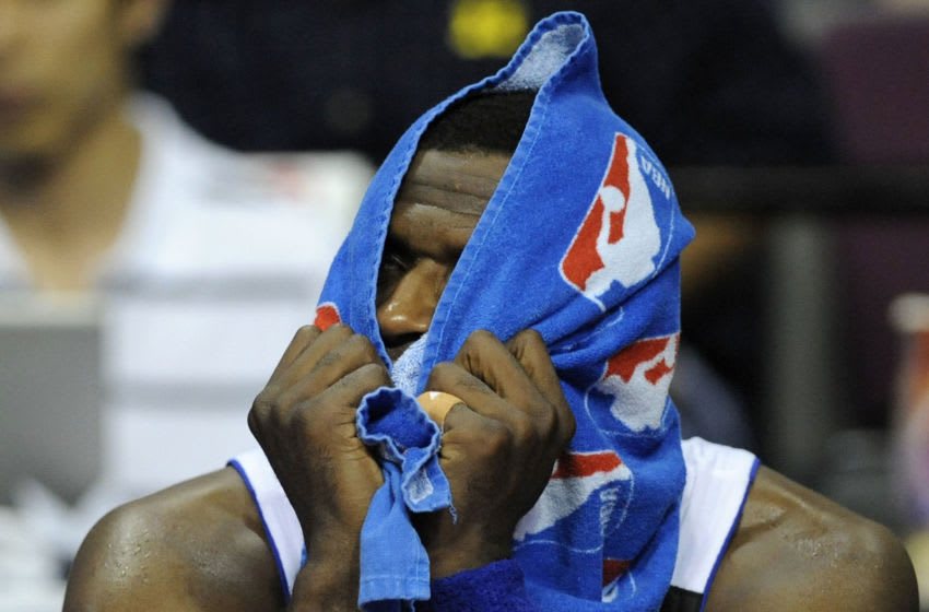 AUBURN HILLS, MI - APRIL 26: Antonio McDyess #24 of the Detroit Pistons watches from the bench during the final minuet while playing the Cleveland Cavaliers in Game Four of the Eastern Conference Quarterfinals during the 2009 NBA Playoffs at the Palace of Auburn Hills on April 26, 2009 in Auburn Hills, Michigan. Cleveland won the game 99-78 to win the series 4-0. NOTE TO USER: User expressly acknowledges and agrees that, by downloading and or using this photograph, User is consenting to the terms and conditions of the Getty Images License Agreement. (Photo by Gregory Shamus/Getty Images)