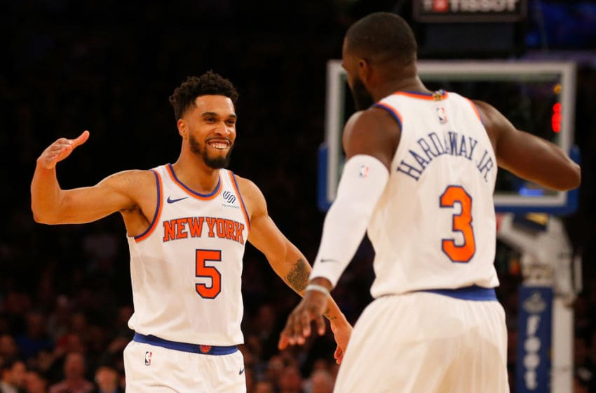 NEW YORK, NY - NOVEMBER 13: (NEW YORK DAILIES OUT) Courtney Lee #5 and Tim Hardaway Jr. #3 of the New York Knicks in action against the Cleveland Cavaliers at Madison Square Garden on November 13, 2017 in New York City. The Cavaliers defeated the Knicks 104-101. NOTE TO USER: User expressly acknowledges and agrees that, by downloading and/or using this Photograph, user is consenting to the terms and conditions of the Getty Images License Agreement. (Photo by Jim McIsaac/Getty Images)