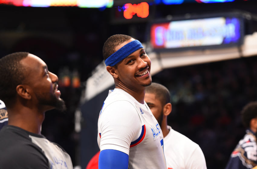 NEW ORLEANS - FEBRUARY 19: Carmelo Anthony #7 of the Eastern Conference All-Star Team smiles for a photo before the 2017 NBA All-Star Game on February 19, 2017 at the Smoothie King Center in New Orleans, Louisiana. Copyright 2017 NBAE (Photo by Juan Ocampo/NBAE via Getty Images)