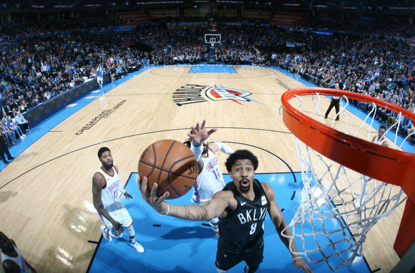 OKLAHOMA CITY, OK - JANUARY 23: Spencer Dinwiddie #8 of the Brooklyn Nets shoots a lay up against the Oklahoma City Thunder on January 23, 2018 at Chesapeake Energy Arena in Oklahoma City, Oklahoma. Copyright 2018 NBAE (Photo by Layne Murdoch/NBAE via Getty Images)