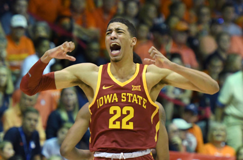 LAHAINA, HI - NOVEMBER 20: Tyrese Hailburton #22 of the Iowa State Cyclones celebrates a shot during a second round game of Maui Invitational college basketball game against the Illinois Fighting Illini at the Lahaina Civic Center on November 20, 2018 in Lahaina Hawaii. (Photo by Mitchell Layton/Getty Images)