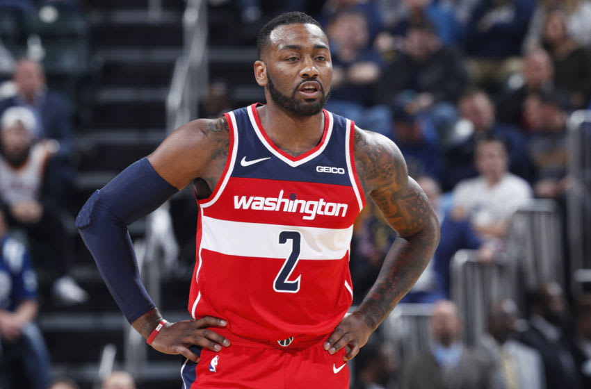 INDIANAPOLIS, IN - DECEMBER 23: John Wall #2 of the Washington Wizards looks on during the game against the Indiana Pacers at Bankers Life Fieldhouse on December 23, 2018 in Indianapolis, Indiana. The Pacers won 105-89. NOTE TO USER: User expressly acknowledges and agrees that, by downloading and or using the photograph, User is consenting to the terms and conditions of the Getty Images License Agreement. (Photo by Joe Robbins/Getty Images)