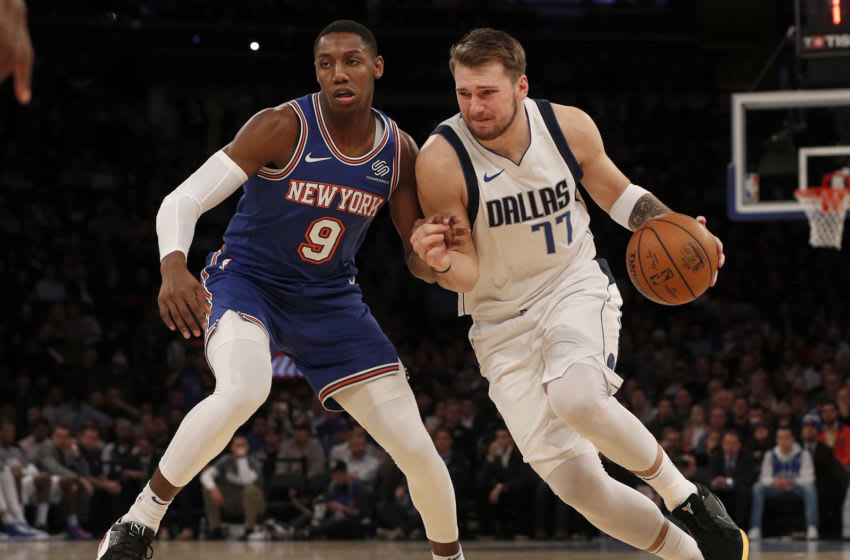 NEW YORK, NEW YORK - NOVEMBER 14: (NEW YORK DAILIES OUT) Luka Doncic #77 of the Dallas Mavericks in action against RJ Barrett #9 of the New York Knicks at Madison Square Garden on November 14, 2019 in New York City. The Knicks defeated the Mavericks 106-103. NOTE TO USER: User expressly acknowledges and agrees that, by downloading and or using this photograph, user is consenting to the terms and conditions of the Getty Images License Agreement. (Photo by Jim McIsaac/Getty Images)