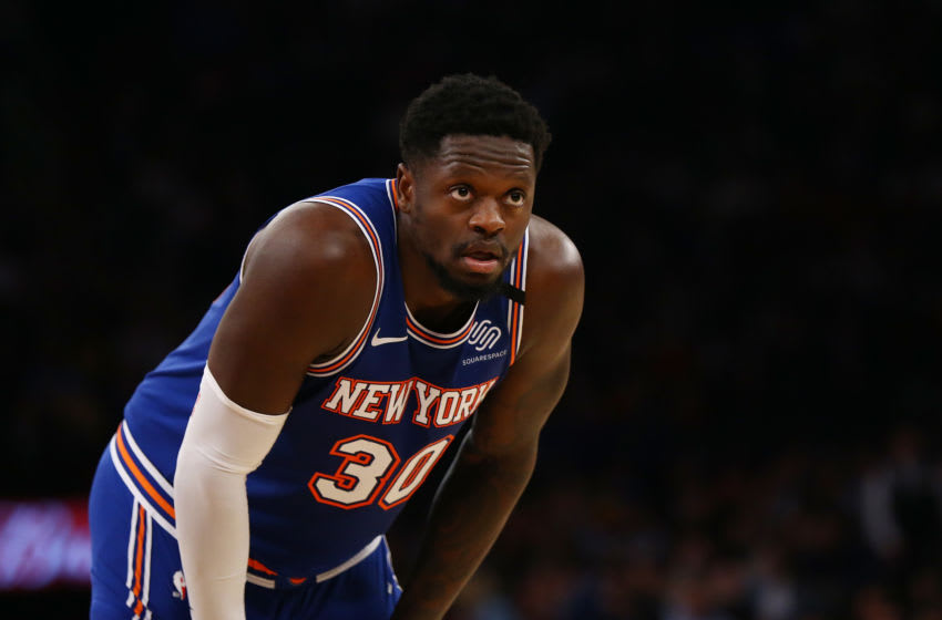 NEW YORK, NEW YORK - MARCH 02: Julius Randle #30 of the New York Knicks in action against the Houston Rockets at Madison Square Garden on March 02, 2020 in New York City. NOTE TO USER: User expressly acknowledges and agrees that, by downloading and or using this photograph, User is consenting to the terms and conditions of the Getty Images License Agreement. New York Knicks defeated the Houston Rockets 125-123. (Photo by Mike Stobe/Getty Images)