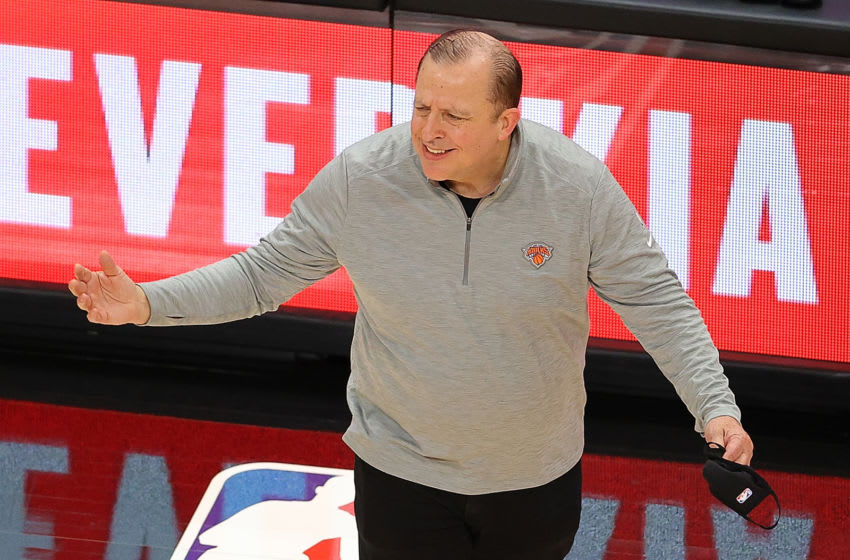 ATLANTA, GEORGIA - JANUARY 04: Head coach Tom Thibodeau of the New York Knicks reacts against the Atlanta Hawks during the second half at State Farm Arena on January 04, 2021 in Atlanta, Georgia. NOTE TO USER: User expressly acknowledges and agrees that, by downloading and or using this photograph, User is consenting to the terms and conditions of the Getty Images License Agreement. (Photo by Kevin C. Cox/Getty Images)