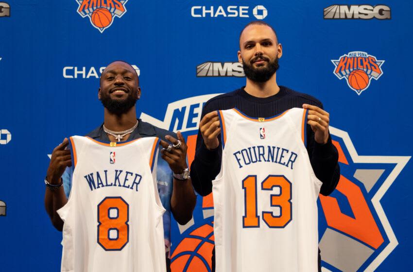 Kemba Walker, Evan Fournier, New York Knicks. (Photo by Dustin Satloff/Getty Images)