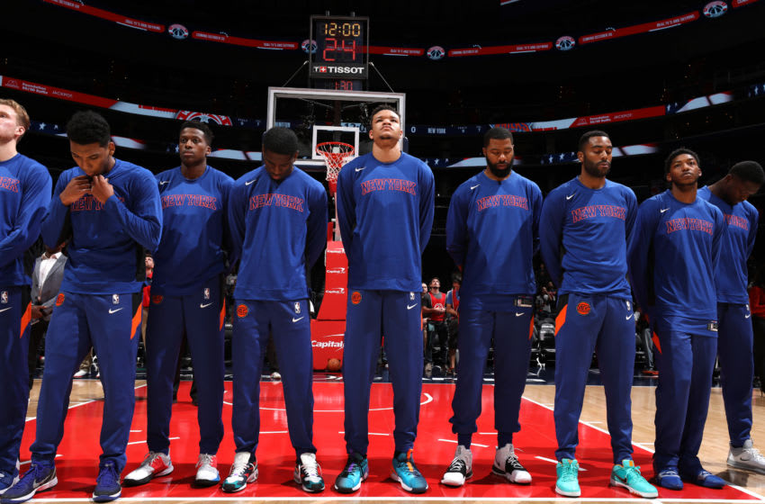 WASHINGTON, DC -¬ OCTOBER 7: New York Knicks stands for the national anthem before the game against the Washington Wizards during the preseason on October 7, 2019 at Capital One Arena in Washington, DC. NOTE TO USER: User expressly acknowledges and agrees that, by downloading and or using this Photograph, user is consenting to the terms and conditions of the Getty Images License Agreement. Mandatory Copyright Notice: Copyright 2019 NBAE (Photo by Stephen Gosling/NBAE via Getty Images)