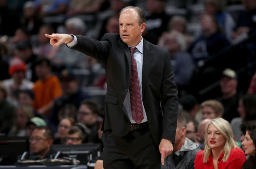 DENVER, COLORADO - DECEMBER 15: Head coach Mike Miller of the New York Knicks instructs his team as the play the Denver Nuggets in the first quarter at the Pepsi Center on December 15, 2019 in Denver, Colorado. NOTE TO USER: User expressly acknowledges and agrees that, by downloading and or using this photograph, User is consenting to the terms and conditions of the Getty Images License Agreement. (Photo by Matthew Stockman/Getty Images)