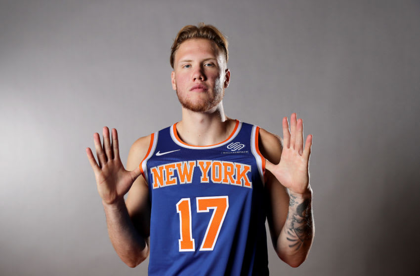 MADISON, NEW JERSEY - AUGUST 11: Ignas Brazdeikis of the New York Knicks poses for a portrait during the 2019 NBA Rookie Photo Shoot on August 11, 2019 at the Ferguson Recreation Center in Madison, New Jersey. (Photo by Elsa/Getty Images)