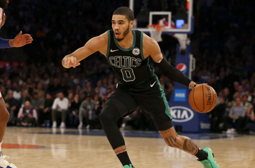 NEW YORK, NEW YORK - OCTOBER 26: (NEW YORK DAILIES OUT) Jayson Tatum #0 of the Boston Celtics in action against the New York Knicks at Madison Square Garden on October 26, 2019 in New York City. The Celtics defeated the Knicks 118-95. NOTE TO USER: User expressly acknowledges and agrees that, by downloading and or using this photograph, user is consenting to the terms and conditions of the Getty Images License Agreement. (Photo by Jim McIsaac/Getty Images)