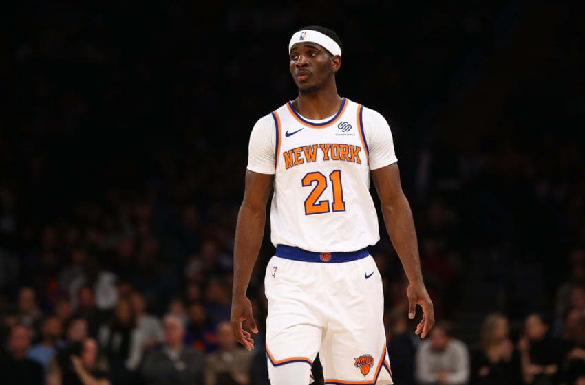 NEW YORK, NEW YORK - NOVEMBER 24: Damyean Dotson #21 of the New York Knicks in action against the Brooklyn Nets at Madison Square Garden on November 24, 2019 in New York City.Brooklyn Nets defeated the New York Knicks 103-101. NOTE TO USER: User expressly acknowledges and agrees that, by downloading and or using this photograph, User is consenting to the terms and conditions of the Getty Images License Agreement. (Photo by Mike Stobe/Getty Images)