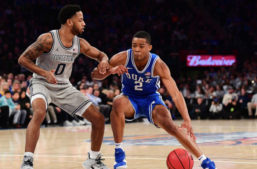 New York Knicks option Cassius Stanley #2 of the Duke Blue Devils drives past Jahvon Blair #0 of the Georgetown Hoyas during the second half of their game at Madison Square Garden on November 22, 2019 in New York City. (Photo by Emilee Chinn/Getty Images)