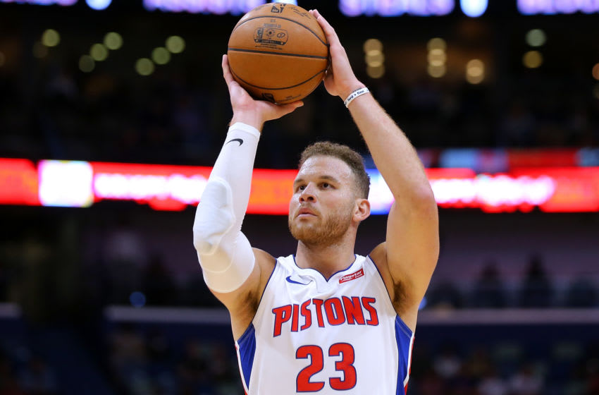 Blake Griffin #23 of the Detroit Pistons in action against the New Orleans Pelicans at the Smoothie King Center on December 09, 2019 in New Orleans, Louisiana.(Photo by Jonathan Bachman/Getty Images)
