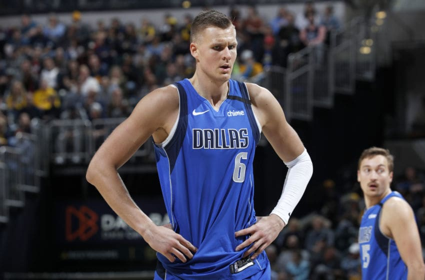 INDIANAPOLIS, IN - FEBRUARY 03: Kristaps Porzingis #6 of the Dallas Mavericks looks on during a game against the Indiana Pacers at Bankers Life Fieldhouse on February 3, 2020 in Indianapolis, Indiana. The Mavericks defeated the Pacers 112-103. NOTE TO USER: User expressly acknowledges and agrees that, by downloading and or using this Photograph, user is consenting to the terms and conditions of the Getty Images License Agreement. (Photo by Joe Robbins/Getty Images)
