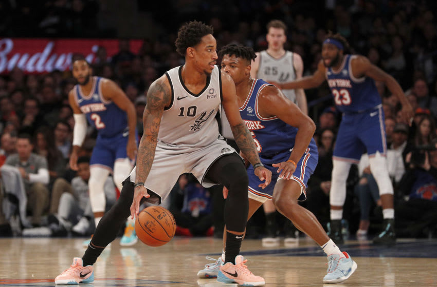NEW YORK, NEW YORK - NOVEMBER 23: (NEW YORK DAILIES OUT) DeMar DeRozan #10 of the San Antonio Spurs in action against the New York Knicks at Madison Square Garden on November 23, 2019 in New York City. The Spurs defeated the Knicks 111-104. NOTE TO USER: User expressly acknowledges and agrees that, by downloading and or using this photograph , user is consenting to the terms and conditions of the Getty Images License Agreement. (Photo by Jim McIsaac/Getty Images)