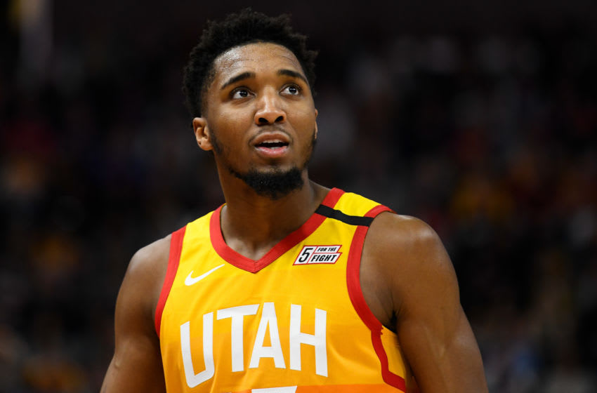 SALT LAKE CITY, UT - MARCH 09: Donovan Mitchell #45 of the Utah Jazz looks on during a game against the Toronto Raptors at Vivint Smart Home Arena on March 9, 2020 in Salt Lake City, Utah. NOTE TO USER: User expressly acknowledges and agrees that, by downloading and/or using this photograph, user is consenting to the terms and conditions of the Getty Images License Agreement. (Photo by Alex Goodlett/Getty Images)