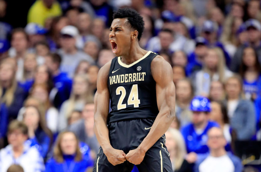 New York Knicks option Aaron Nesmith #24 of the Vanderbilt Commodores celebrates in the game against the Kentucky Wildcats at Rupp Arena on January 12, 2019 in Lexington, Kentucky. (Photo by Andy Lyons/Getty Images)