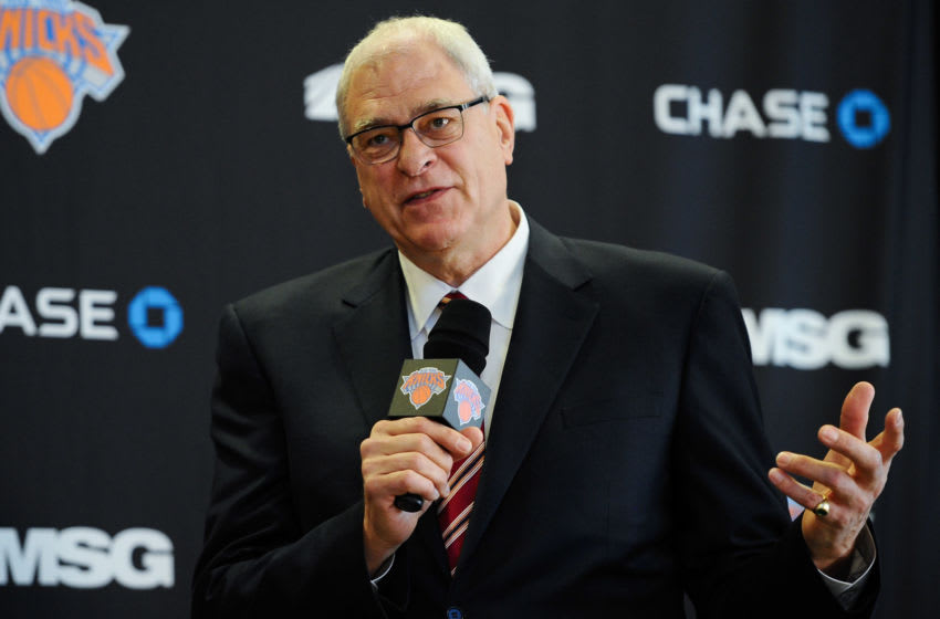 NEW YORK, NY - MARCH 18: Phil Jackson answers questions during the press conference to introduce him as President of the New York Knicks at Madison Square Garden on March 18, 2014 in New York City. (Photo by Maddie Meyer/Getty Images)