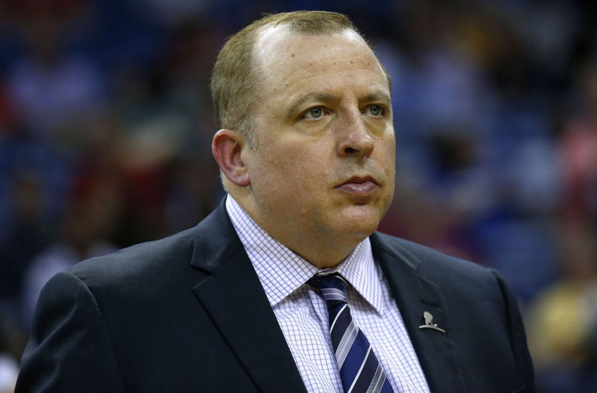 NEW ORLEANS, LA - MARCH 19: Head coach Tom Thibodeau of the Minnesota Timberwolves reacts during a game against the New Orleans Pelicans at the Smoothie King Center on March 19, 2017 in New Orleans, Louisiana. NOTE TO USER: User expressly acknowledges and agrees that, by downloading and or using this photograph, User is consenting to the terms and conditions of the Getty Images License Agreement. (Photo by Jonathan Bachman/Getty Images)