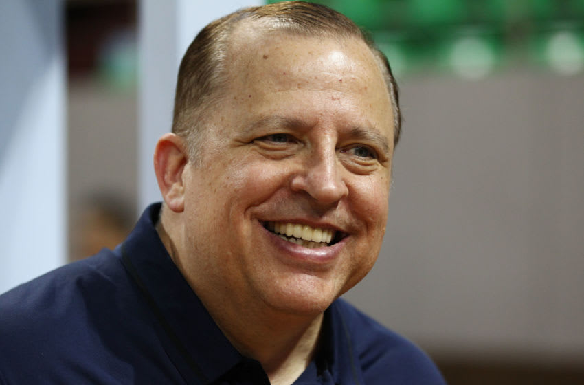 SHENZHEN, CHINA - OCTOBER 04: Head coach Tom Thibodeau of the Minnesota Timberwolves looks on during practice at Shenzhen Gymnasium as part of 2017 NBA Global Games China on October 4, 2017 in Shenzhen, China. (Photo by Zhong Zhi/Getty Images)