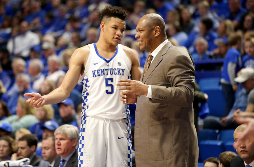 LEXINGTON, KY - FEBRUARY 28: Assistant coach Kenny Payne, talks with Kevin Knox #5 of the Kentucky Wildcats during the game against the Ole Miss Rebels at Rupp Arena on February 28, 2018 in Lexington, Kentucky. (Photo by Andy Lyons/Getty Images)