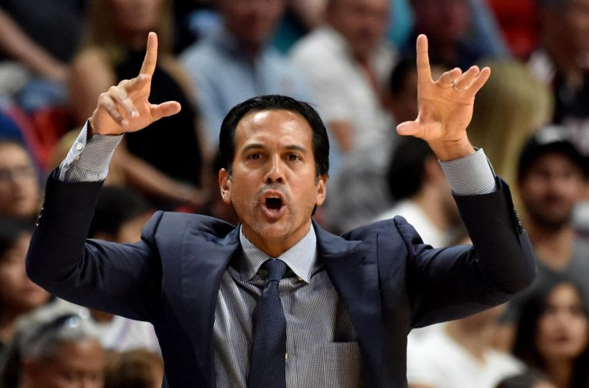 Nov 10, 2018; Miami, FL, USA; Miami Heat head coach Eric Spoelstra reacts during the first half against the Washington Wizards at American Airlines Arena. Mandatory Credit: Steve Mitchell-USA TODAY Sports