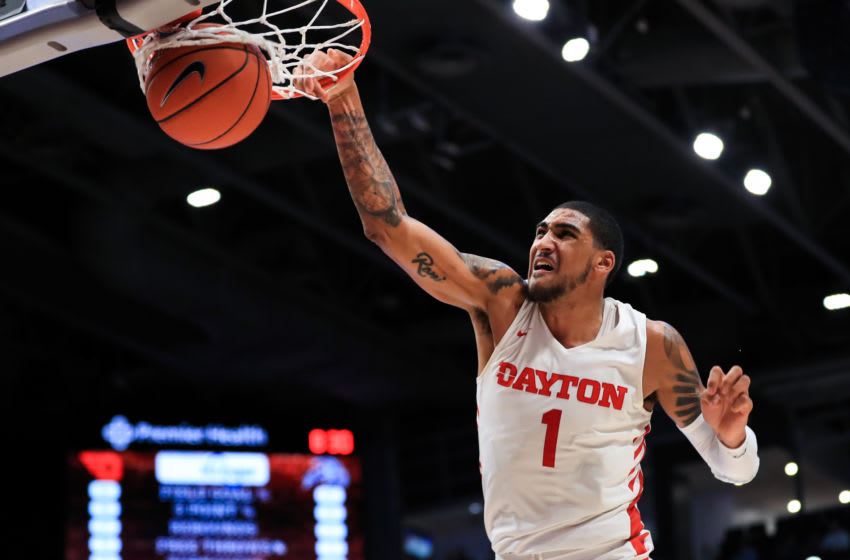 Dec 30, 2019; Dayton, Ohio, USA; Dayton Flyers forward Obi Toppin (1) dunks the ball against the North Florida Ospreys in the second half at University of Dayton Arena. Mandatory Credit: Aaron Doster-USA TODAY Sports
