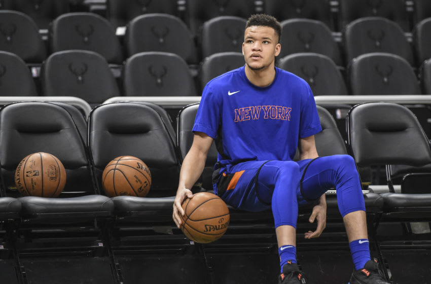 Jan 14, 2020; Milwaukee, Wisconsin, USA; New York Knicks forward Kevin Knox II (20) warms up before game against the Milwaukee Bucks at Fiserv Forum. Mandatory Credit: Benny Sieu-USA TODAY Sports