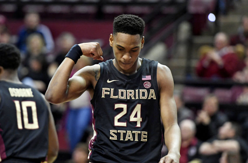 Jan 25, 2020; Tallahassee, Florida, USA; Florida State Seminoles guard Devin Vassell (24) celebrates after a play against the Notre Dame Fighting Irish during the first half at Donald L. Tucker Center. Mandatory Credit: Melina Myers-USA TODAY Sports