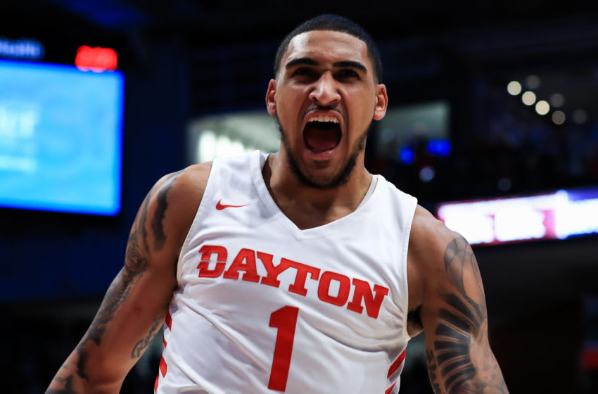 Feb 8, 2020; Dayton, Ohio, USA; Dayton Flyers forward Obi Toppin (1) reacts after he dunks the ball against the Saint Louis Billikens in the first half at University of Dayton Arena. Mandatory Credit: Aaron Doster-USA TODAY Sports