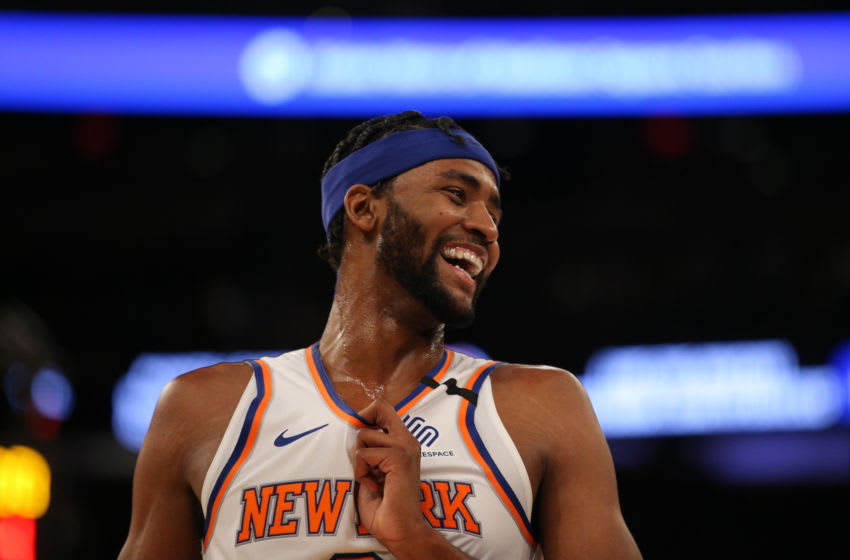 Feb 12, 2020; New York, New York, USA; New York Knicks small forward Maurice Harkless (3) laughs during the fourth quarter against the Washington Wizards at Madison Square Garden. Mandatory Credit: Brad Penner-USA TODAY Sports