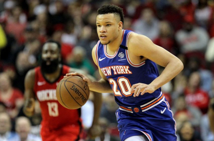 Feb 24, 2020; Houston, Texas, USA; New York Knicks forward Kevin Knox II (20) handles the ball against the Houston Rockets during the fourth quarter at Toyota Center. Mandatory Credit: Erik Williams-USA TODAY Sports