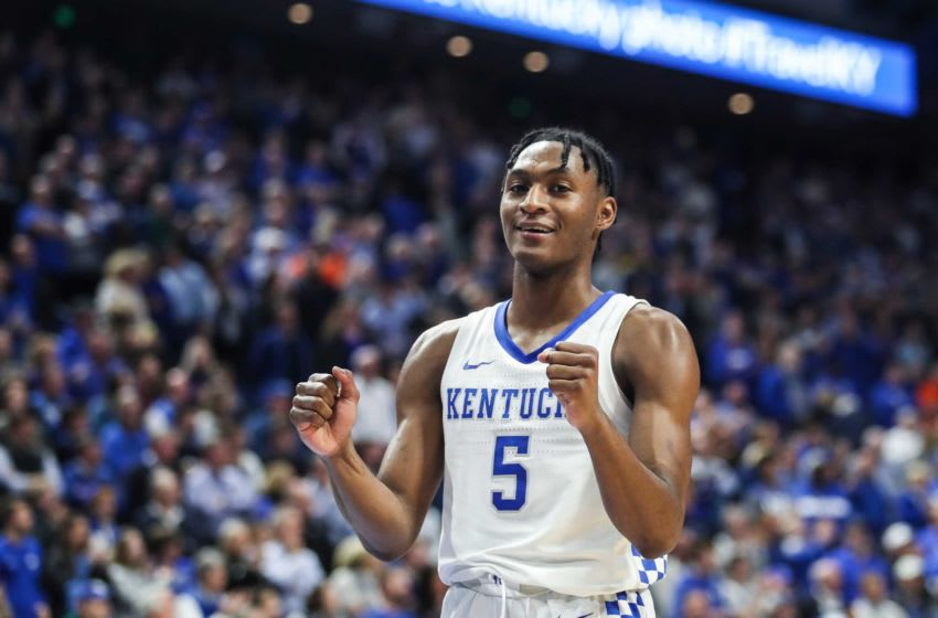 Immanuel Quickley soaks in the Wildcat win over Florida Saturday night. He finished with career-high 26 points.